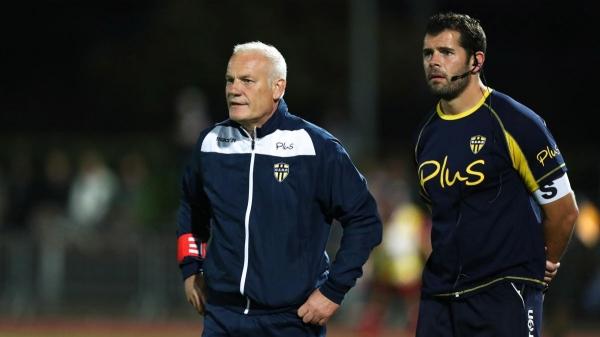 Xavier Pemeja et son coach assistant Sebastien Fouassier Icon Sport